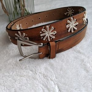 Accessories - Brown Leather Belt with Star Embroidery